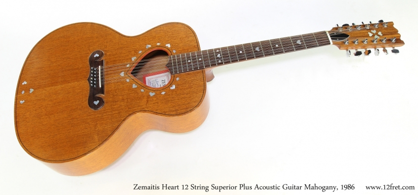 Zemaitis Superior Plus Heart 12 String Acoustic Guitar Mahogany, 1986   Full Front View