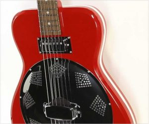 Airline Folkstar Electric Resophonic Guitar by Eastwood, Red - The Twelfth Fret