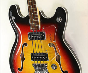 ❌SOLD❌   Baldwin Vibraslim Bass Semi-Hollow Sunburst, 1966