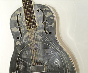 ❌Sold❌ National Style 0 Etched Silver Resophonic Guitar, 1930s