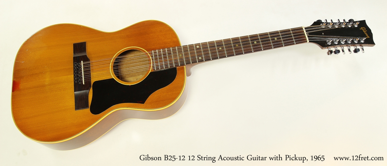gibson b25 12 12 string acoustic guitar with pickup 1965. Black Bedroom Furniture Sets. Home Design Ideas
