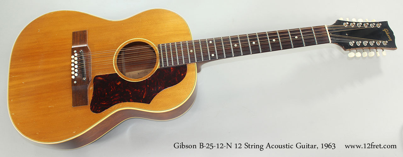 1963 gibson b 25 12 n 12 string acoustic guitar. Black Bedroom Furniture Sets. Home Design Ideas
