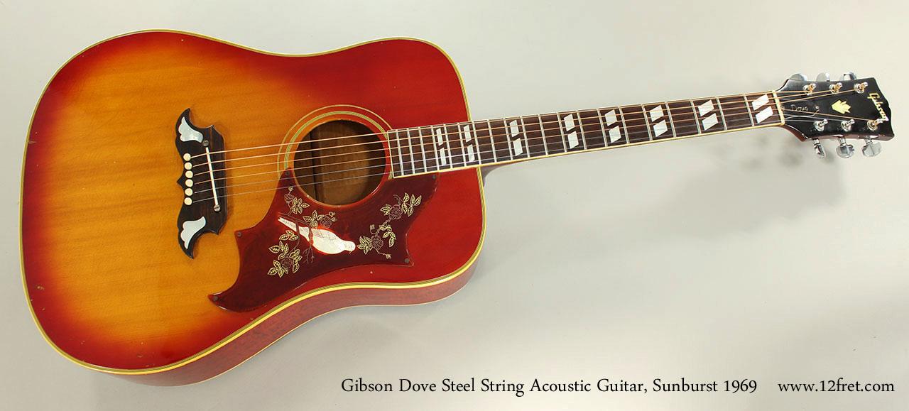 1969 Gibson Dove Steel String Acoustic Guitar, Sunburst   www.12fret.com