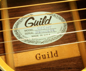 1980 Guild D-55 NT Natural Dreadnought (consignment)  SOLD