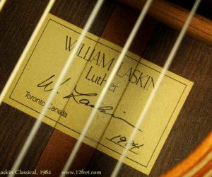 William Laskin Classical Guitar 1984 (consignment) SOLD